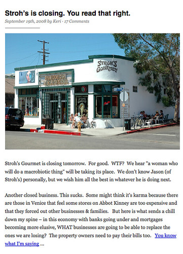 Stroh's Abbot Kinney is Closing