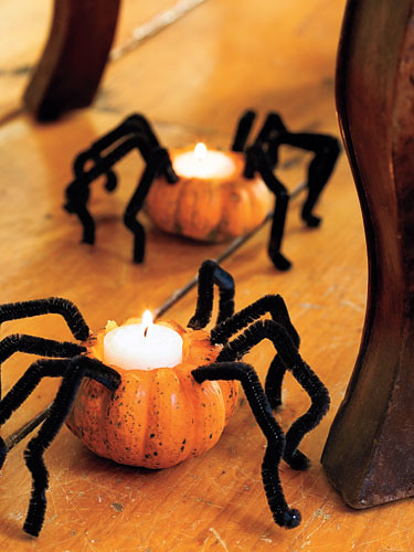 spider crafts, pumpkin spiders, halloween decorations