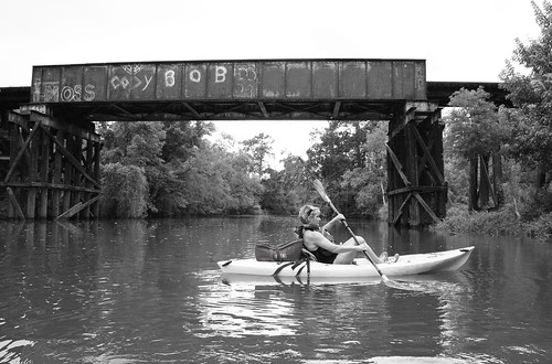 Kayak & Pony Girder Railroad Bridge over Cedar Bayou, Baytown, Texas 1309281503BW