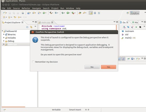 Ubuntu 12.04 Eclipse C++ Project Debug 5