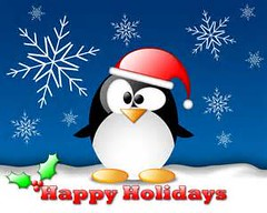 happy holidays penguin