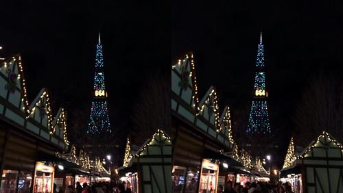 [Daily Cha cha S3-D] 楽日のミュンヘンクリスマス市、交差法。 イルミネーションは、続行〜。