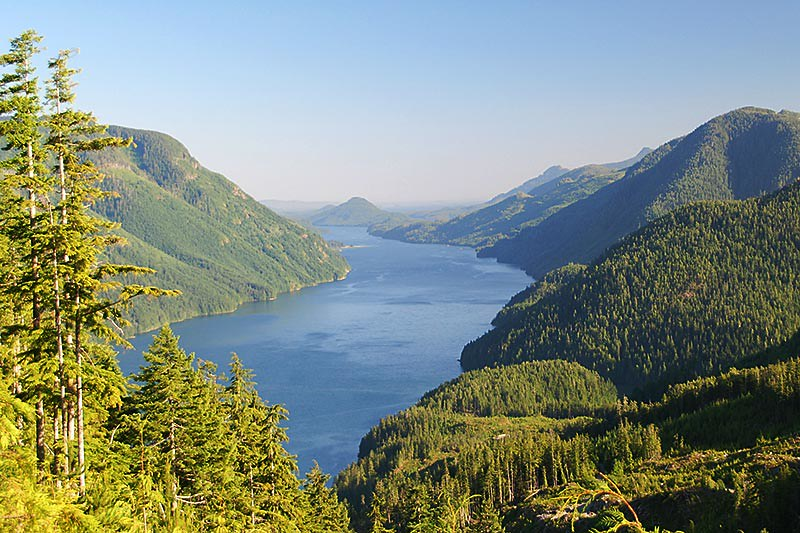 Tahsis Inlet off Nootka Sound, looking south from Tahsis, North Vancouver Island, British Columbia