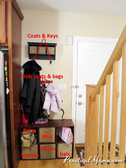 Organizing entryway clutter | Practical Mama