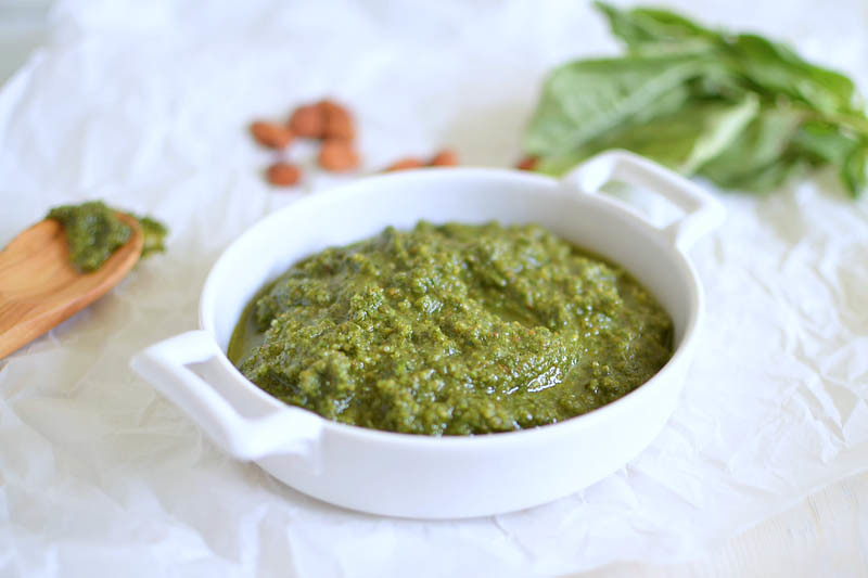 Basil Almond Pesto via LittleFerraroKitchen.com
