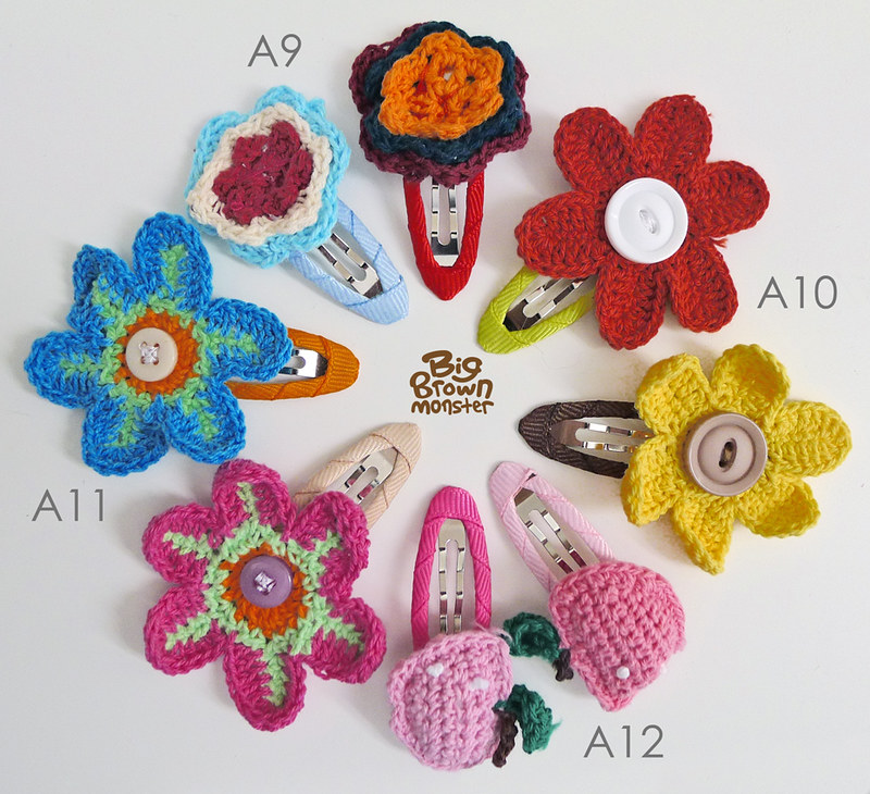 Summer bloom crochet clips