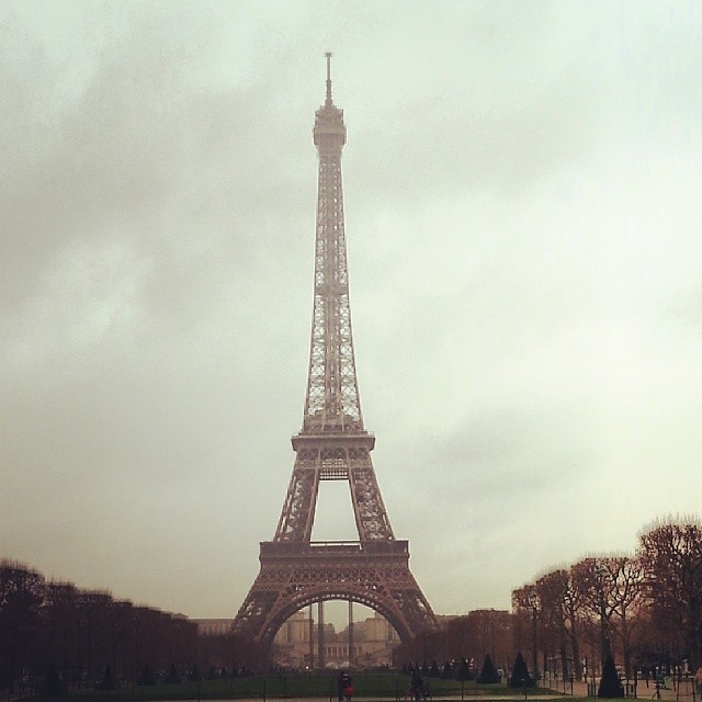 Saying Bonjour to this little old lady. My reward for two days of house painting. #Paris #EiffelTower