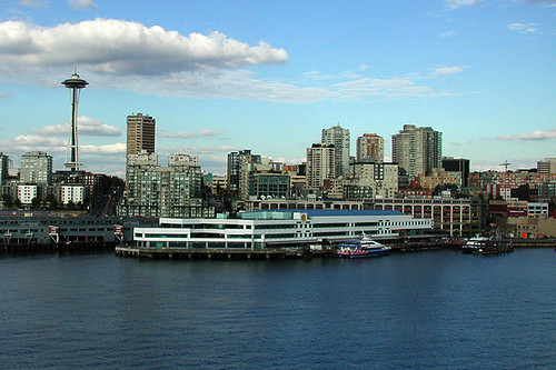 The Victoria Clipper Ferry docked at Pier 69 in Downtown Seattle, Washington, USA