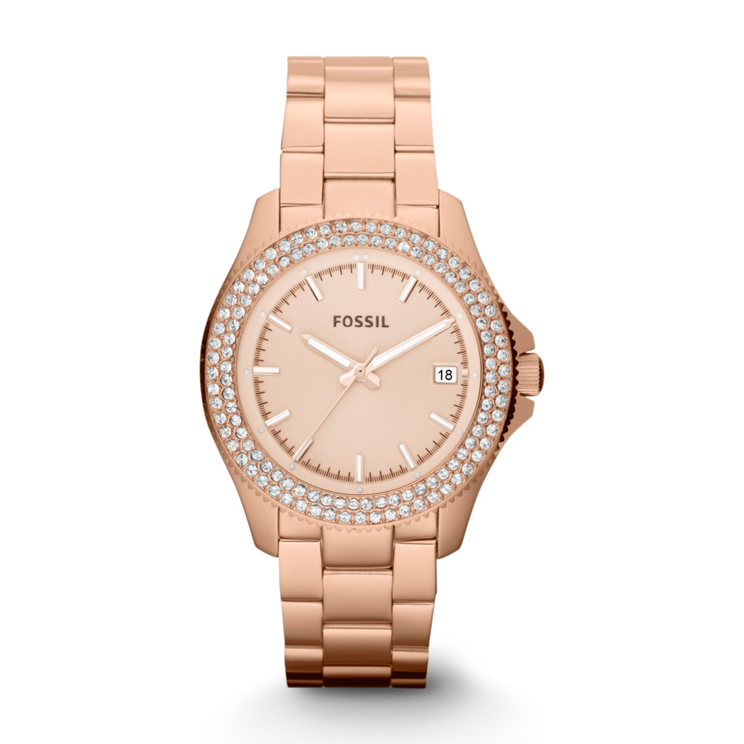 c43ca7e95c3 Fossil Women s AM4454 Rose Three Hand Stainless Steel Watch