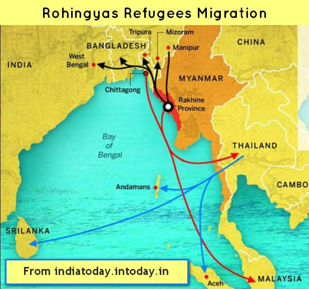 Rohingyas migration map