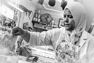 Woman cooking Moroccan bread