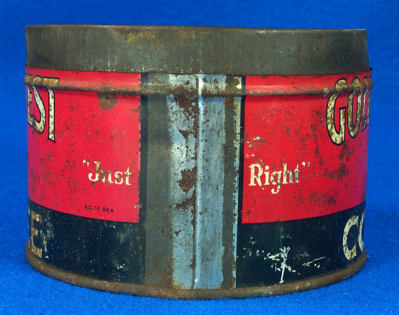 RD15323 Vintage 1927 Golden West Coffee Can Tin 1 lb. Cowgirl DSC09109