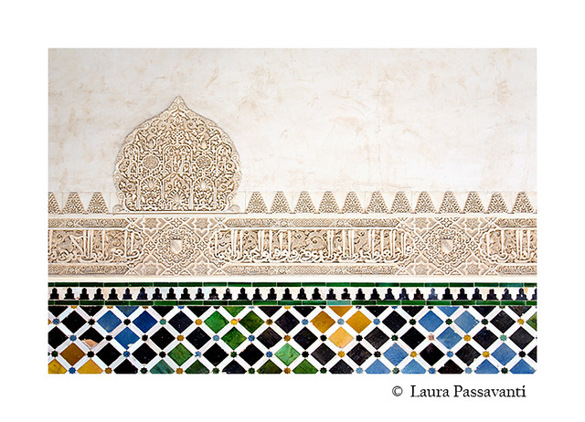 A detail in the Court of the Myrtles, Alhambra Palace, Granada, Andalusia