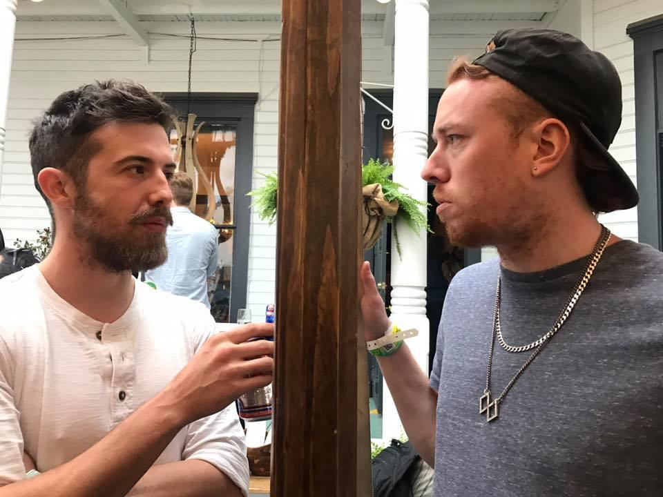Trewin of Phoria and Stevie of  Mt.Wolf chatting at Spotify house by Ciara Nolan