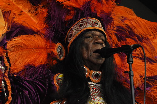 Big Chief Monk Boudreaux of the Golden Eagles on Sunday, April 30, 2017, Day 3 of Jazz Fest. Photo by Leona Strassberg Steiner.