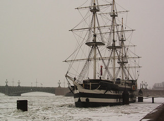 Ship on Neva river, Saint-Petersburg