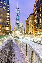 Snowy night at the world trade center