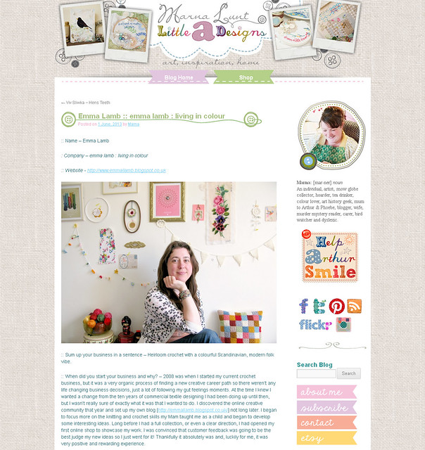 My artist interview over on Marna Lunt's inpiring blog, Little A Designs. | Emma Lamb