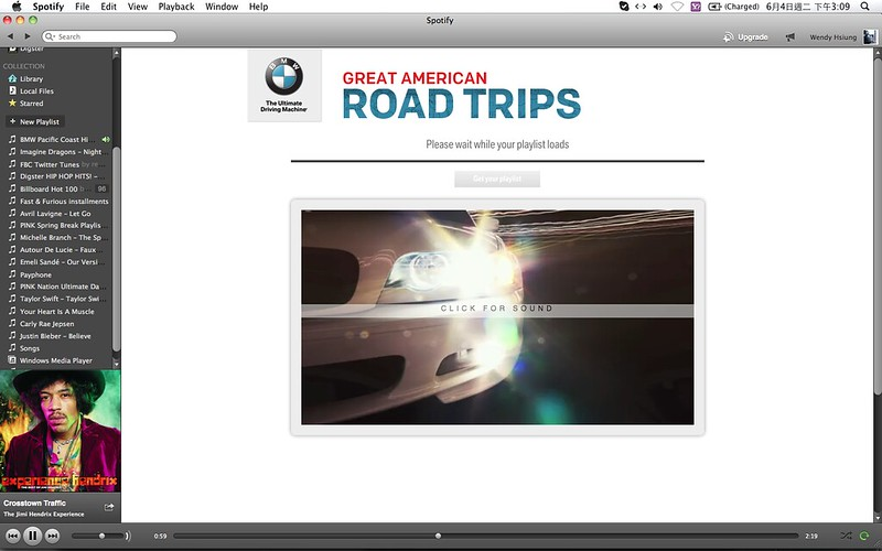 2013 BMW Great American Road Trips campaign@Spotify_02