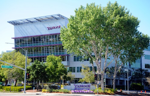 Yahoo! Headquarters, purple logo sign, purple flowers and trim, trees, Sunnyvale, Silicon Valley, California, USA by Wonderlane