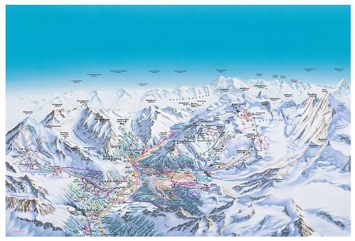 Saas-Fee - mapa sjezdovek