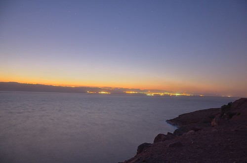 sea dead lights long exposure dusk palestine jordan