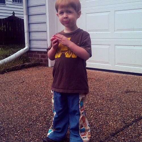 Carl's not a fan of the crazy pants (treasure pocket pants). They are kind of bell bottoms