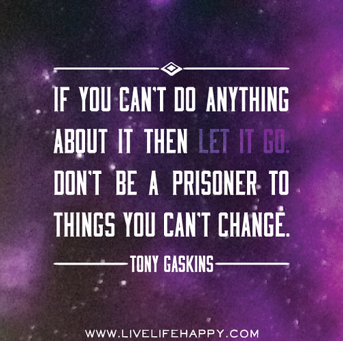 If you can't do anything about it then let it go. Don't be a prisoner to things you can't change. - Tony Gaskins
