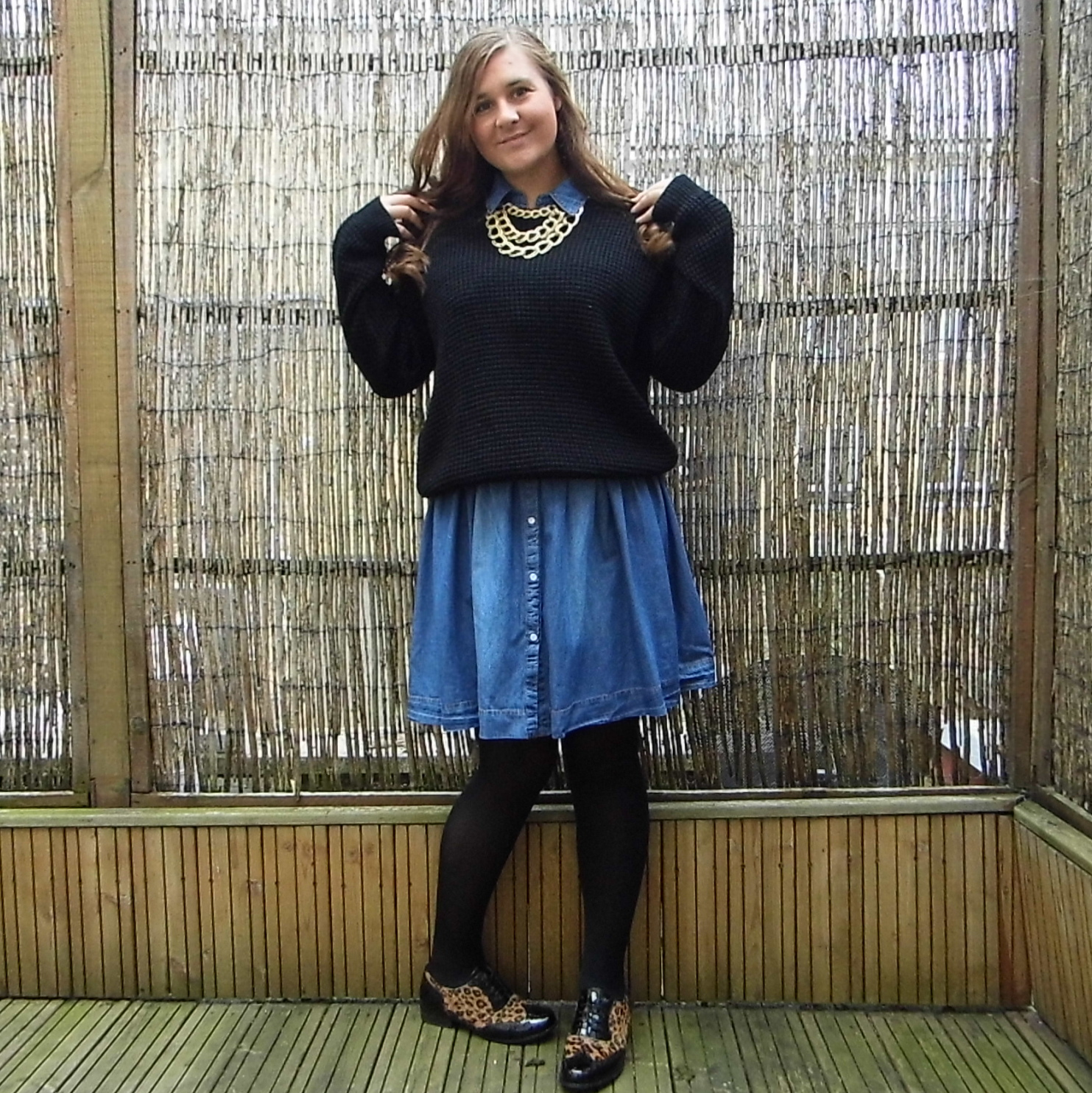 Denim Dress & Slouchy Jumper & Hamble Oak Brogues Shoes