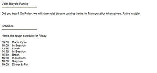 valet bike parking and ambiguous schedule