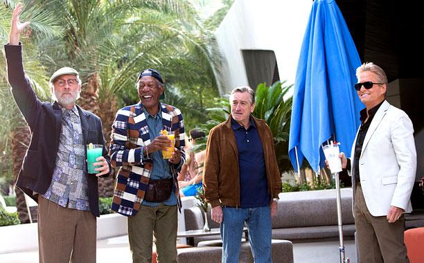 Kevin Kline, Morgan Freeman, Robert DeNiro and Michael Douglas phone in it from LAST VEGAS.