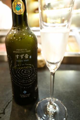Sparkling Sake by Suzune Wabi. IKYU Gourmet Traveller menu 2013.