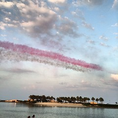 The sky over #Bahrain was painted red and white