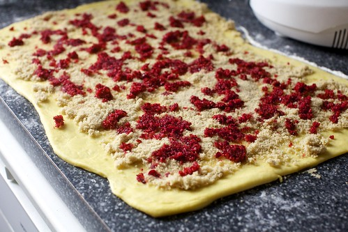 brushed with butter, scattered with brown sugar and cranberries