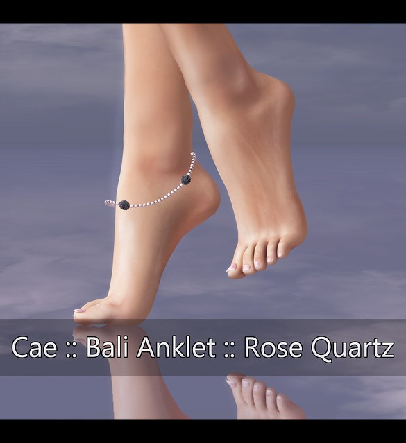 JD - Feet Tip Toe FULL - Cae Bal Anklet Rose Quartz - Gacha at Shoetopia