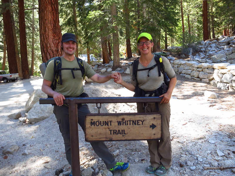 alice and russell at the whitney trail sign at whitney portal