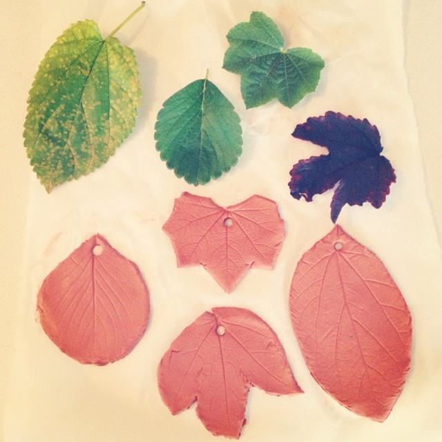 Air dry clay leaves for a hanging a la @sarahhumphreys and @thisbrownwren :) #airdryclay #craftingwithkids