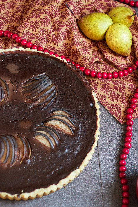 Pear and Chocolate Tart with Cranberry Puree