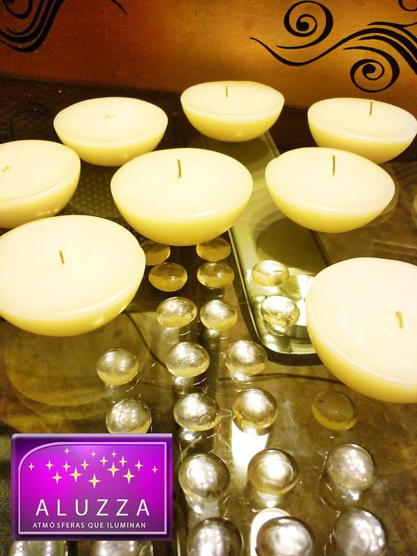 vela flotante para cilindro de cristal o pecera para decoracion de boda aluzza