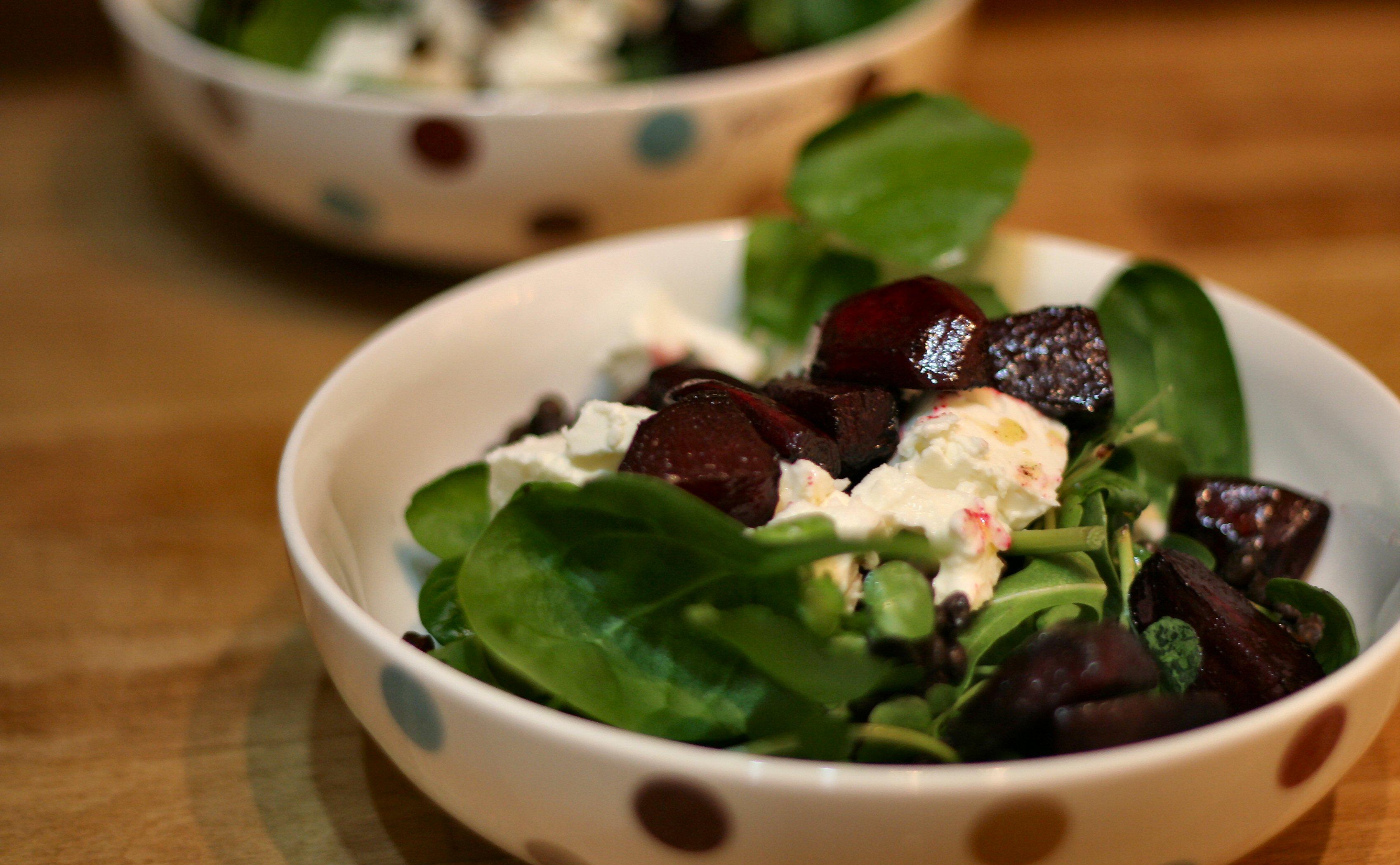 Beetroot, feta & lentil salad in bowls
