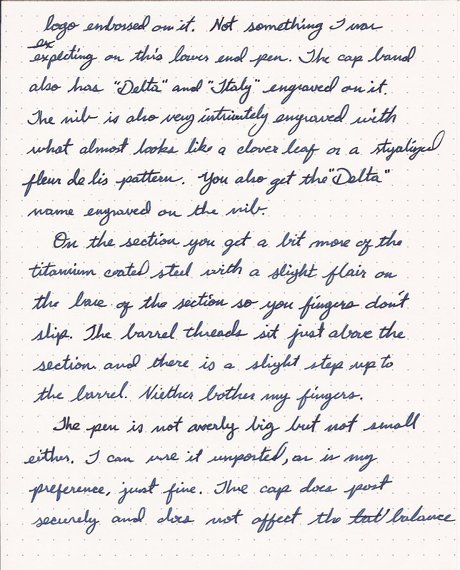 Delta Serena Fountain Pen Review Handwritten Portion