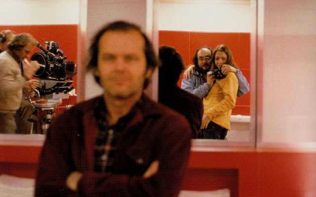 Stanley Kubrick self portrait with his daughter, Jack Nicholson and the crew