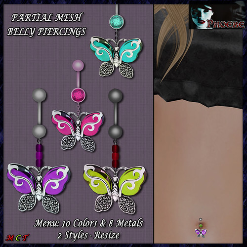 [NEW RELEASE ON SALE!] *P* Butterfly Belly Piercings ~Metals & Colors~ (P-MESH)