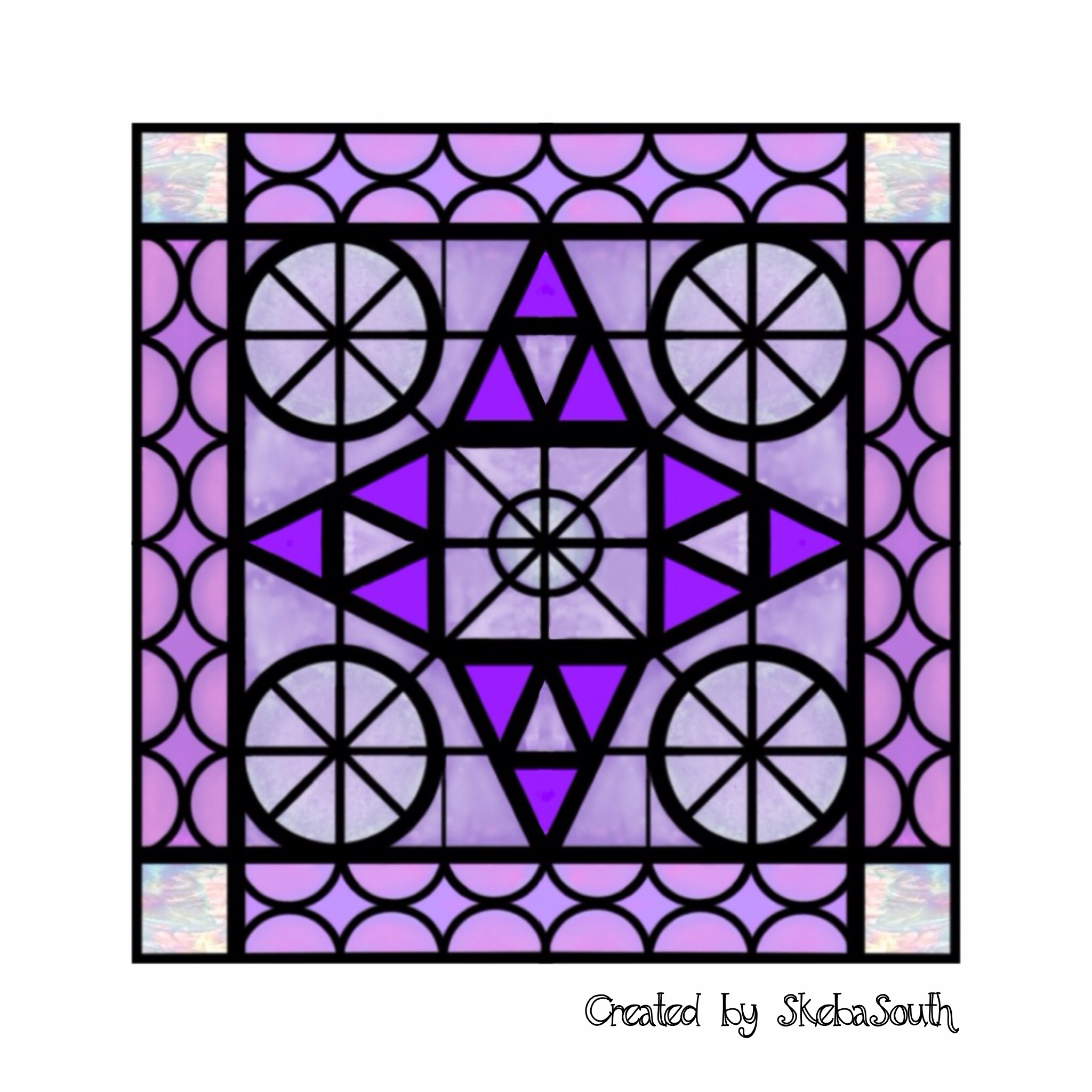 Purple Square Stained Glass Lamp With Flowers Pictures For Kids