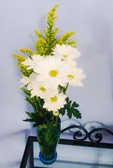 art(0.0), flower arranging(1.0), cut flowers(1.0), flower(1.0), yellow(1.0), artificial flower(1.0), floral design(1.0), plant(1.0), flora(1.0), flower bouquet(1.0), floristry(1.0), ikebana(1.0),