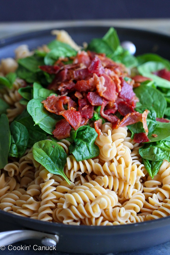 Mushroom, Bacon & Spinach Whole Wheat Pasta Recipe | cookincanuck.com #pasta #bacon