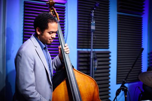 Jasen Weaver of the David Harris Quartet at WWOZ. Photo by Eli Mergel