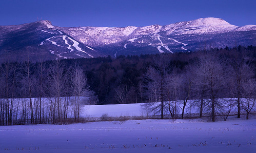 moon moonlight early morning night stowe vt vermont mount mansfield snow winter trees rime ice pretty glow