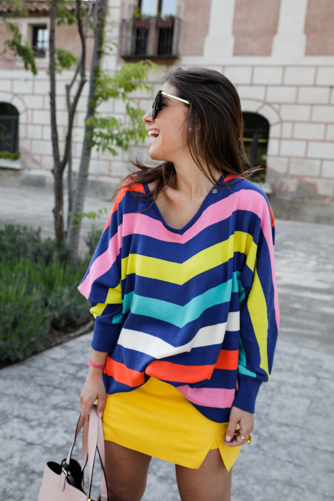 07_sweater stripes color yellow skirt_theguestgirl