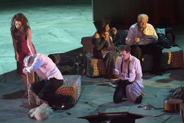 Amanda Echalaz, Charles Workman, Christine Rice, lestyn Davies, and Thomas Allen in Exterminating Angel © Salzburg Festival. Photograph by Monika Rittershaus